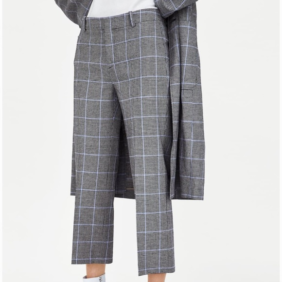 68962f0d74f ZARA PLAID CHECK CHECKED LINEN CROPPED PANTS